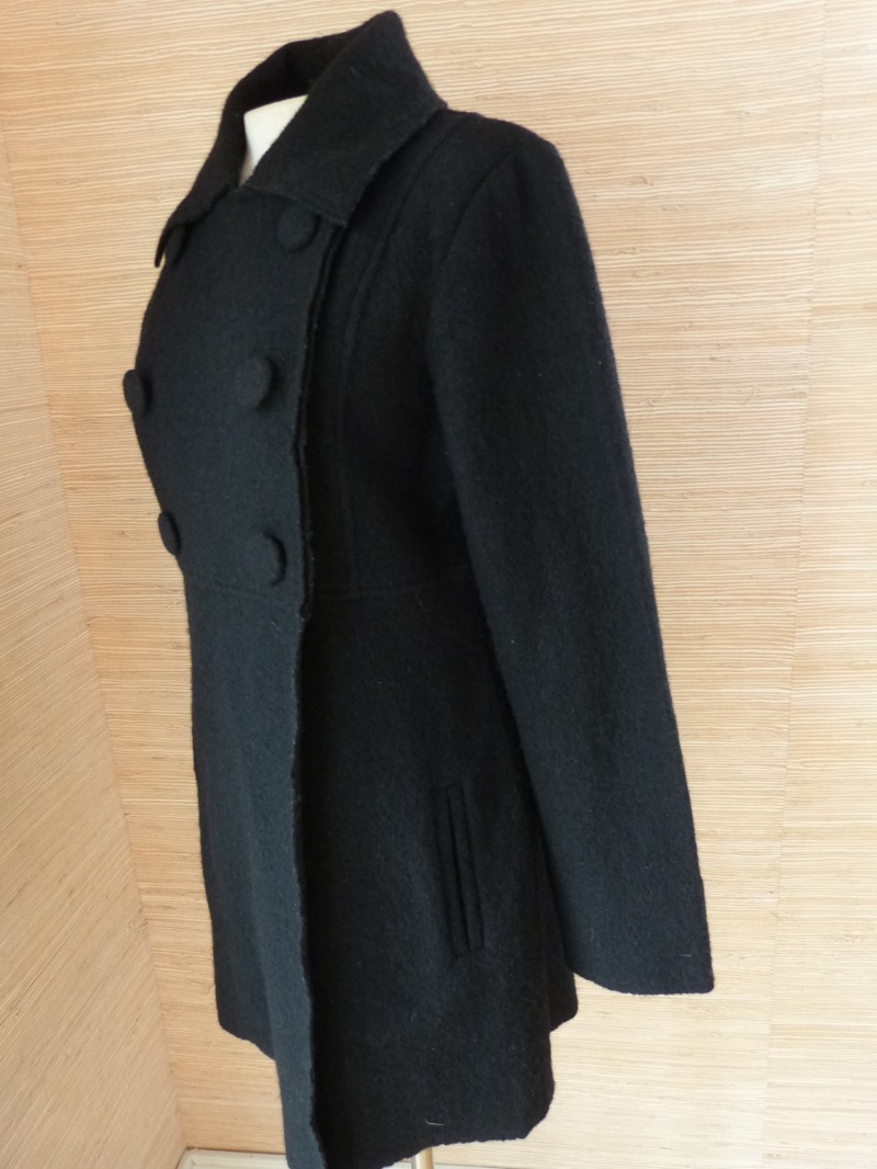 Clothes By Revue Black 100 Boiled Wool Snap Closure Sweater Coat Sz