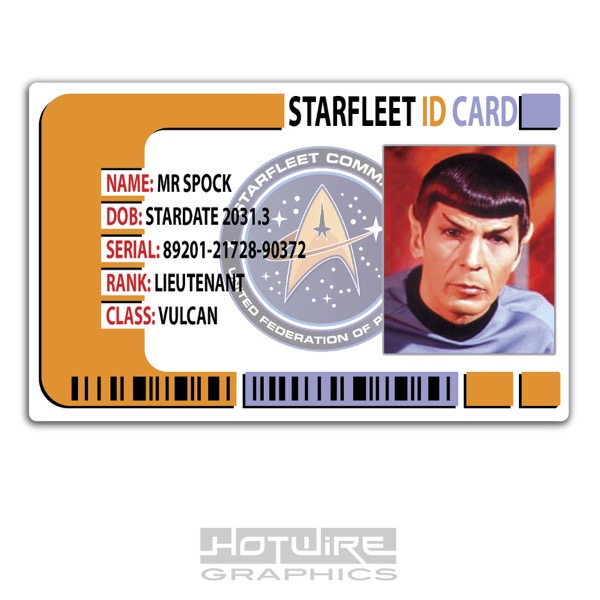 Plastic Id Card Tv  Film Prop  Mr Spock Star Trek Starfleet