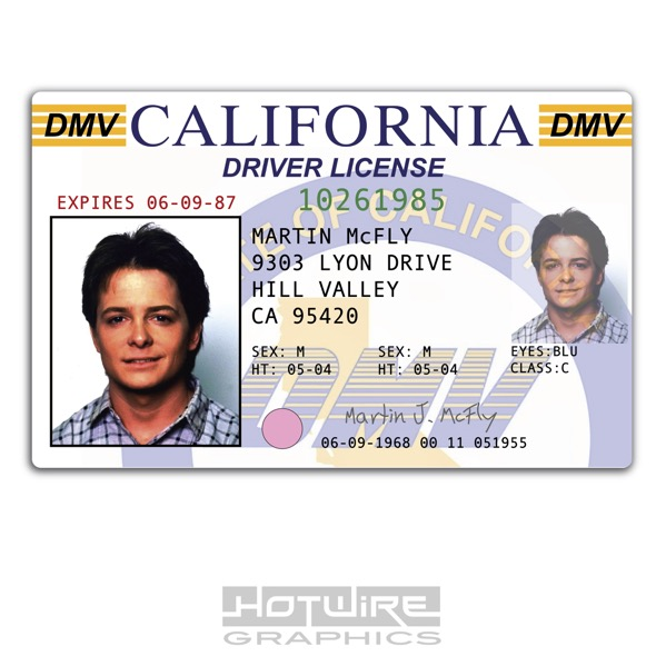 To Mcfly Card Future 620444490030 The Series Driver Marty Prop tv - Ebay License Back Plastic Id