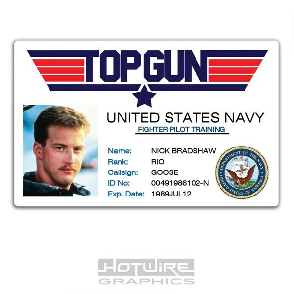Top Id Navy Goose Film Gun tv Card Plastic - 80s School Prop Pass Tv Ebay Series
