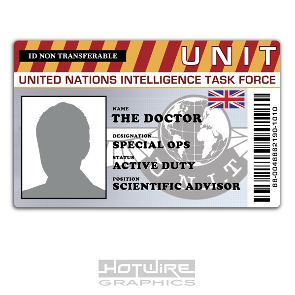 personalised printed novelty id doctor who funny tv card prop 620444490016 ebay. Black Bedroom Furniture Sets. Home Design Ideas