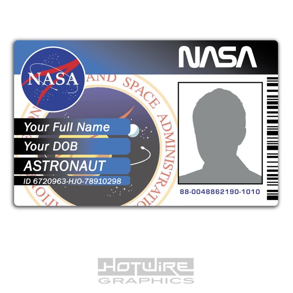 Personalised printed novelty id space exploration nasa card pass nasa space exploration novelty id card pvc plastic colourmoves