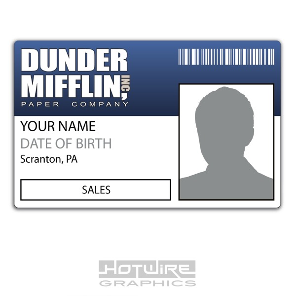 personalised printed novelty id dunder mifflin paper american office tv show 620444489133 ebay. Black Bedroom Furniture Sets. Home Design Ideas