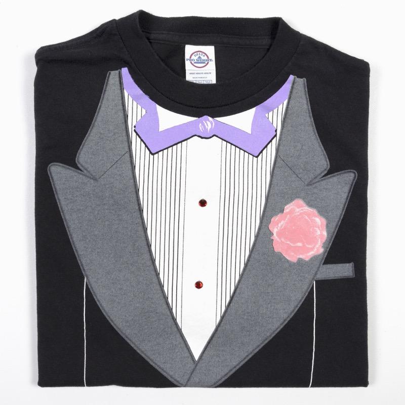 TUXEDO PINK CARNATION T-SHIRT TUX FANCY  DRESS BLACK